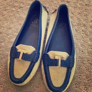 Tory Burch leather trim loafers sz 7.5